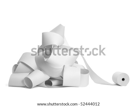 close up of a roll of accounting paper on white background with clipping path