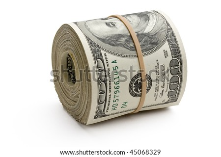 Close up of a roll of hundred dollar bills on white background.