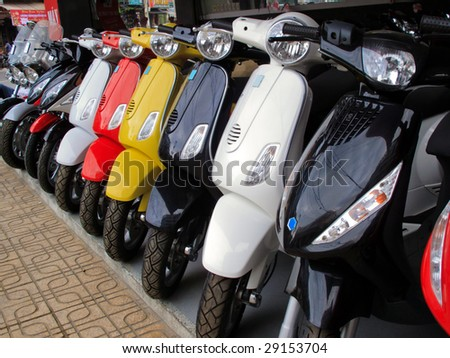 Close up of a row of motor bikes