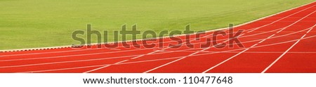 Close up of a running track. Sport background.