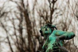 Close-up of a sculpture looking up from Vienna with a bird on its head.