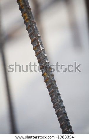 stock photo : Close up of a section of rebar in reinforced concrete