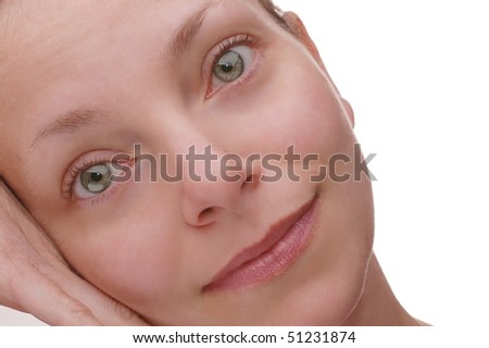Close up of a Serene, Beautiful Woman's Face