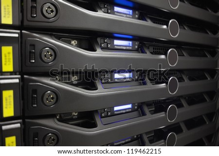 Close-up of a server in a box in the hallway