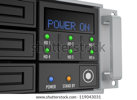 close up of a server rack panel, powered on (3d render)