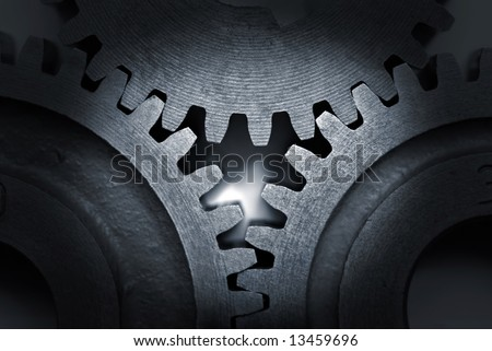Close-up of a set of metallic gears. #13459696
