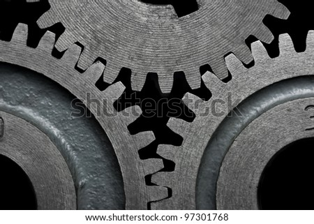 Close-up of a set of metallic gears.