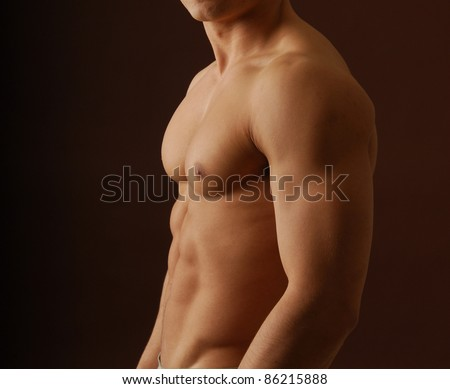 Close up of a sexy nude male torso
