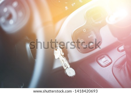 Close up of a shift lever, sports car #1418420693