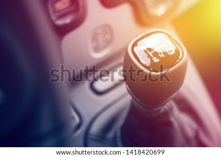 Close up of a shift lever, sports car #1418420699