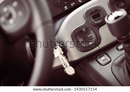 Close up of a shift lever, sports car #1430557154