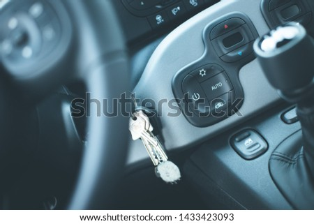 Close up of a shift lever, sports car #1433423093