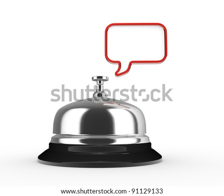 Close up of a silver bell and empty bubble. 3d render illustration
