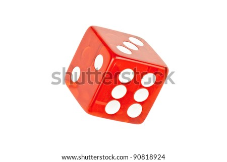 Close-up of a single die rolling six. - stock photo