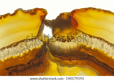 Close up of a Slice Brown Agate Gemstone - stock photo