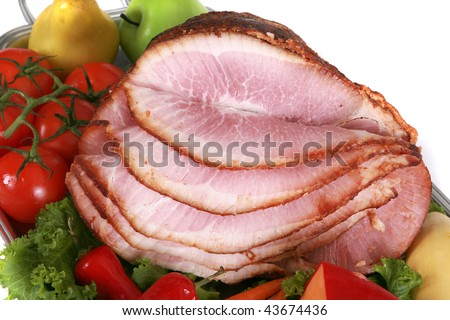 Close up of a sliced  ham - stock photo