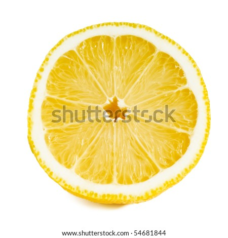 close up of a sliced lemon over white