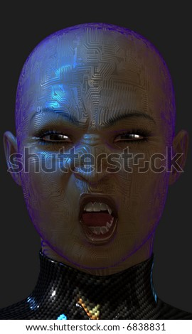Close-up of a snarling cybernetic vampire.