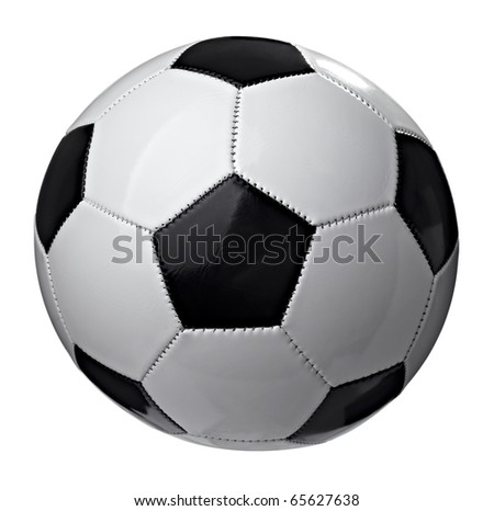 close up of  a soccer ball on white background  with clipping path