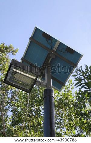 Close up of a solar powered street light - stock photo