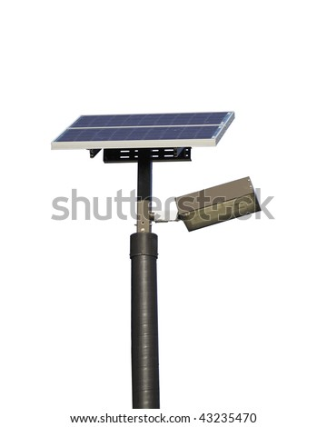 Close up of a solar powered street light isolated on white