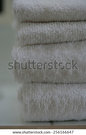 Close up of a stack of folded towels