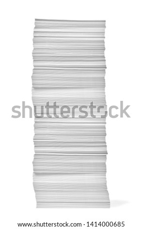 close up of a stack of paper on white background Stock photo ©
