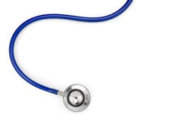 Close-up of a stethoscope isolated on white