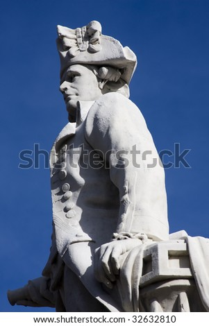 Close up of a stone statue of Captain Cook in Victoria Square, Christchurch New Zealand
