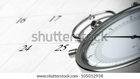 close up of a stopwatch onto a schedule with focus on the numbers 24 and 25, symbol of time management, blur effect