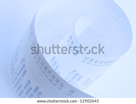 Close up of a supermarket shopping bill