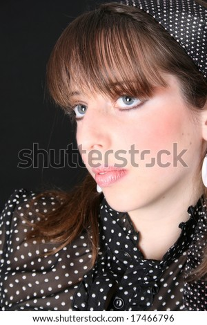 stock photo : Close up of a teen model with beautiful blue eyes