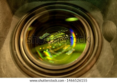 close up of a television lens  on a dark background. Camera lens,Macro of an iris,Camera - Photographic Equipment, Lens - Optical Instrument, Circle, Metal, Single Object. #1466526155
