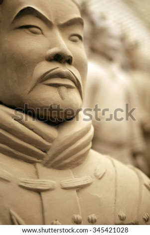 Close up of a terracotta warrior - slightly soft focus