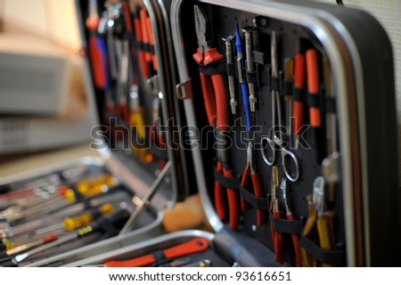 Close-up of a toolbox with instrument sets
