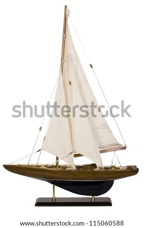 Close-up of a toy sailboat