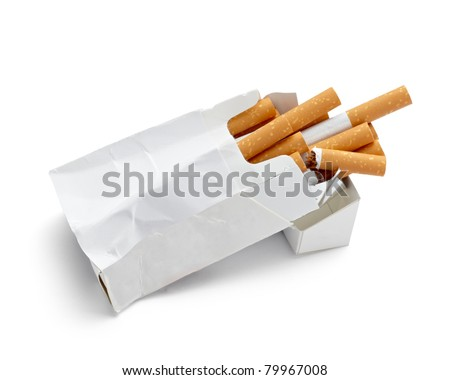 close up of a trashed box of cigarettes on white background with clipping path