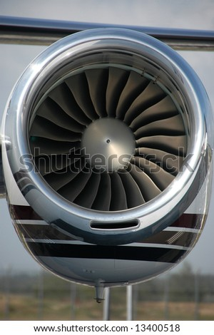 Close up of a turbo fan engine for business jet