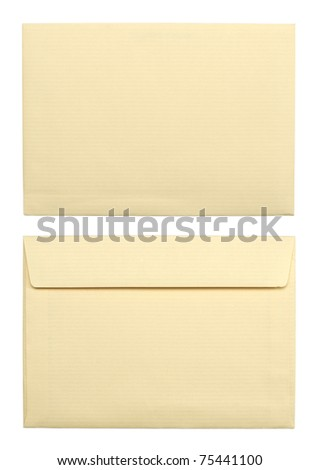 close up of a two beige envelopes on white background with clipping path