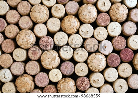 close up of a various wine corks