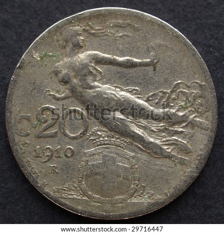 Close up of a vintage Italian coin #29716447