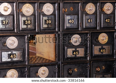 Close up of a vintage mailboxes , it was used in around 1900, now many antiques like this have been kept well for display in the fort edmonton park, edmonton, alberta, canada
