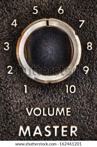 Close Up Of A Vintage Music Amplifier Master Volume Knob
