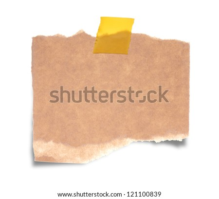 Close up of a vintage note paper on white background