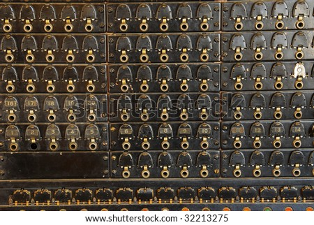 Close up of a vintage telephone switchboard , it was used in around 1900, now many antiques like this have been kept well for display in the fort Edmonton park, Edmonton, Alberta, Canada