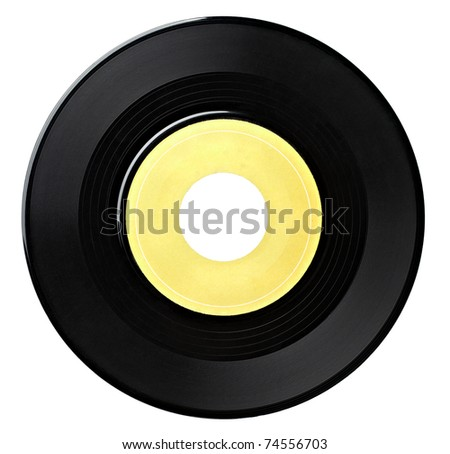 close up  of a vinyl disc on white background with clipping path