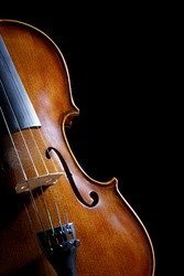 Close up of a violin isolated on a black background