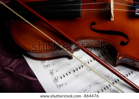 close up of a violin on top of sheet music