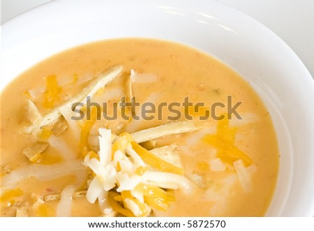 close up of a warm bowl of spicy tortilla soup