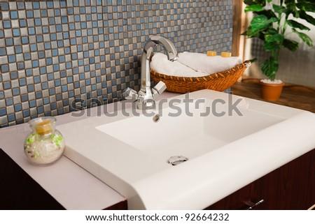close up of a wash basin in a modern bathroom